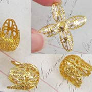 Large Gold Filigree Bead Cap