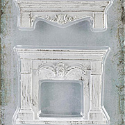 Shabby Chic Resin Fireplace & Shelf Set