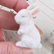 Flocked White Mini Bunnies - Set of 2