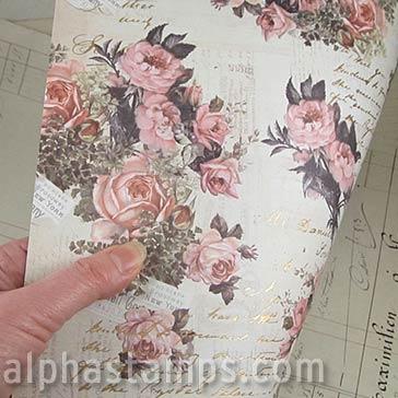 Vintage Floral Scrapbook Paper Pink Promises Alpha Stamps
