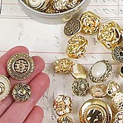 Fancy Gold Buttons in Tin
