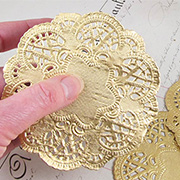 4 Inch Round Gold Doilies