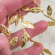 Stitched Leaf Ribbon - Gold