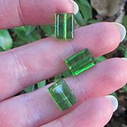 12x8mm Green Glass Rectangular Beads