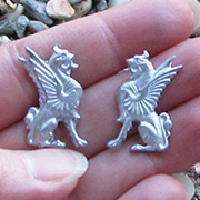 Left & Right Facing Metal Gryphons