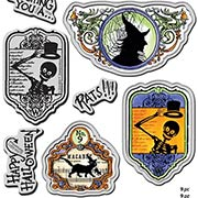 Halloween Labels Cling Stamp & Die Set