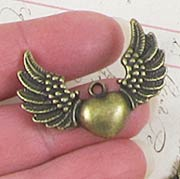 Antiqued Brass Winged Heart Charm*