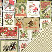 Vintage Christmas Holiday Stamps Scrapbook Paper