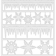 Frozen Clear Icicle Borders & Snowflakes