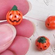 Ceramic Jack-o-Lantern Pumpkin Bead*