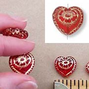 Large Red/Gold Glass Heart Bead*