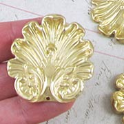 Large Shell or Acanthus Leaf Charms - Raw Brass