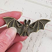 Large Antique Bronze Bat Pendant