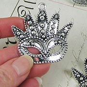 Large Fancy Silver Mask Charm