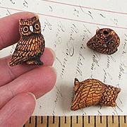 Ceramic Burnt Umber Owl Bead*