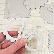 Large Chipboard Scalloped Frames & Medallions