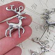 Large Silver Reindeer Pendant