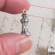 Antique Silver Lighthouse Charm