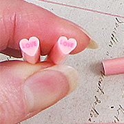 Polymer Clay Pink Love Heart Cane