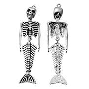 Silver Mermaid Skeleton Pendant