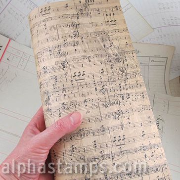 Distressed Old Sheet Music Scrapbook Paper Alpha Stamps