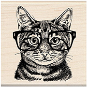 Nerdy Cat Rubber Stamp
