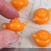 Orange Color Mini Teapot Charm