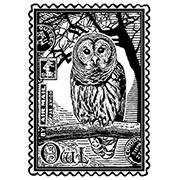 Airmail Owl Unmounted Rubber Stamp
