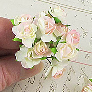 1/2 Inch Pale Pink Paper Roses*