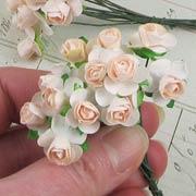 1/2 Inch Pale Peach Paper Roses
