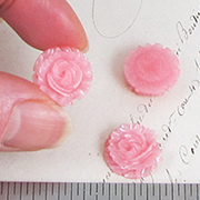 Pearl Pink Resin Rose Cabochon
