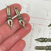 Antique Bronze Pen Nib Charm
