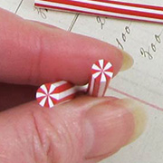 Polymer Clay Red Swirl Peppermint Cane