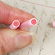 Polymer Clay Red Pink Swirl Cane