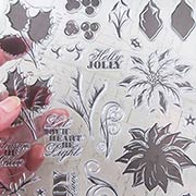 Layering Poinsettia & Holly Clear Stamp Set**