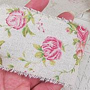Printed Burlap Ribbon - Roses
