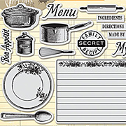 Recipe Card & Cooking Icons Stamp Set