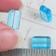 12x8mm Aqua Blue Glass Rectangular Beads