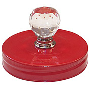 Mason Jar Toppers - Red with Crystal Knob