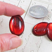 25x18mm Red Acrylic Cabochons