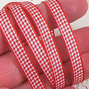 Red and White Mini Gingham Check Ribbon