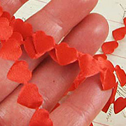 Mini Red Satin Puffy Hearts