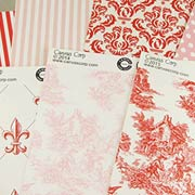 Red, Ivory & Pink Patterns Scrapbook Paper Set