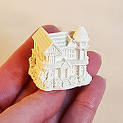 Miniature White Resin Victorian House