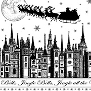 Jingle Bells Rooftops Unmounted Rubber Stamp