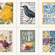 Rose Cafe Faux Postage Stamp Stickers*