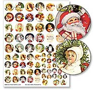 Round Pendants Collage Sheet - Christmas