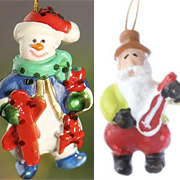 1 Inch Resin Santa & Snowman Ornaments