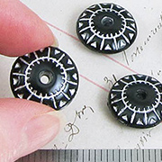 Black and Silver Carved Saucer Beads