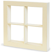 Wooden Window Shadow Box - Ivory